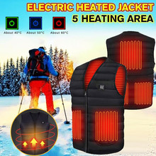 Men Autumn Winter Smart Heating Cotton Vest USB Infrared Electric Heating Vest Women Outdoor Flexible Thermal Winter Warm Jacket cheap CN(Origin) Polyester V-Neck Fits true to size take your normal size waterproof