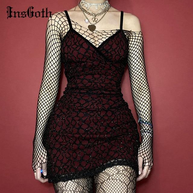 InsGoth Gothic Sexy V Neck Red Dress Grunge Bodycon Backless High Waist Mini Dress Goth Vintage Sleeveless Women Dress Club Wear 1