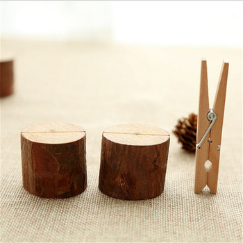 DIY Wooden log stump card holder photo folder creative home wooden wedding decoration ornaments desktop business card holder
