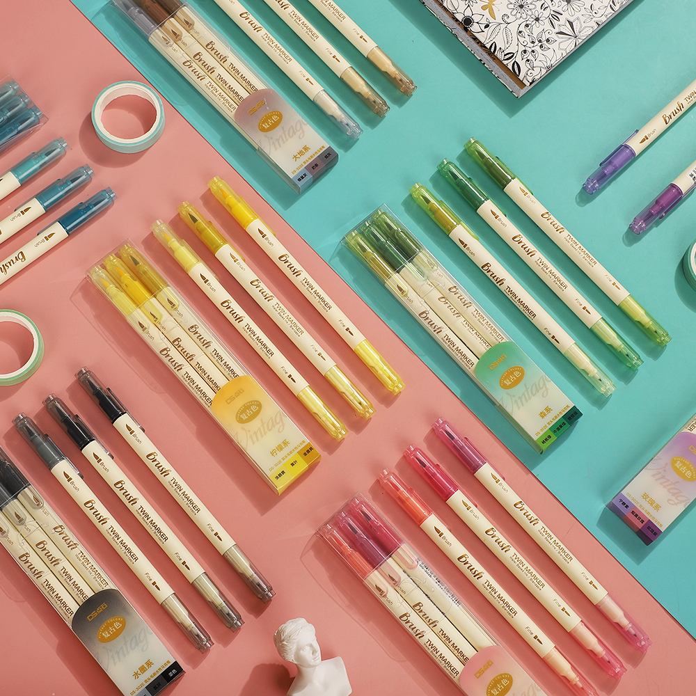 JIANWU 3pcs/set Retro Double Headed Brush Pen Creative Art Marker Pen for Drawing Painting Watercolor School Supplies Stationery