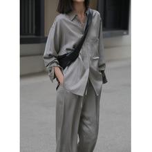 Loose Women Shirt 2020 New Pure Natural Renewable Fiber Turn-down Collar  Pockets  High Street  Solid fashion women tops