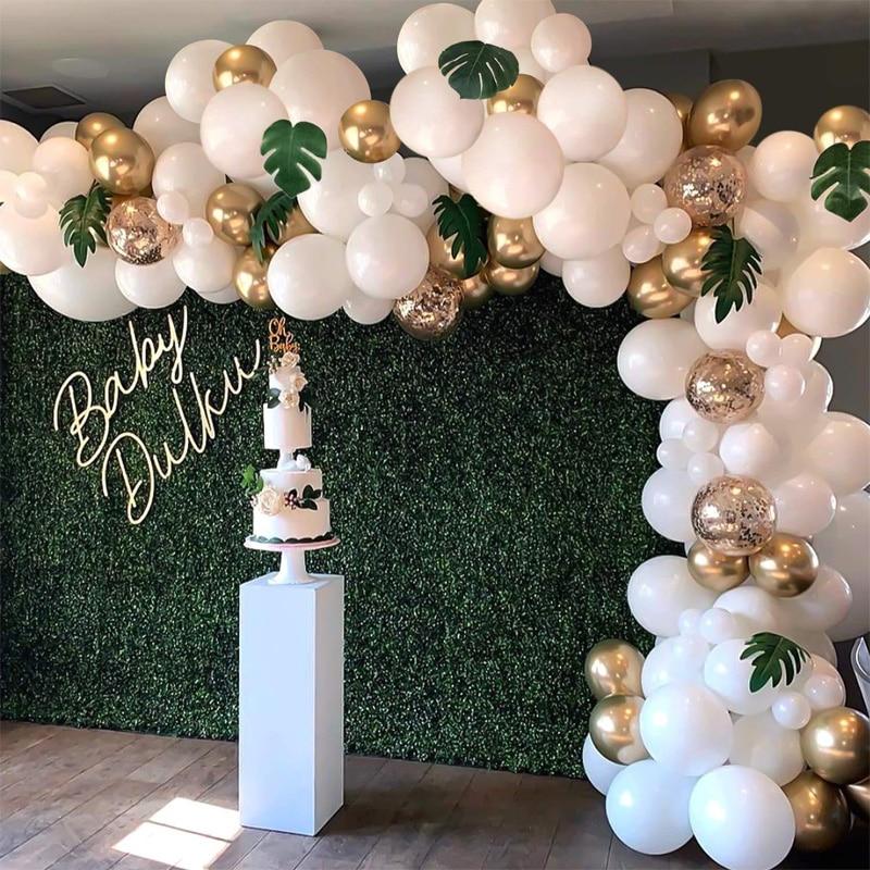 White Gold Latex Balloons Birthday Party Wedding Decoration Arch Kit With Bonus Tropical Leaves Confetti Ballon Palm Leaf