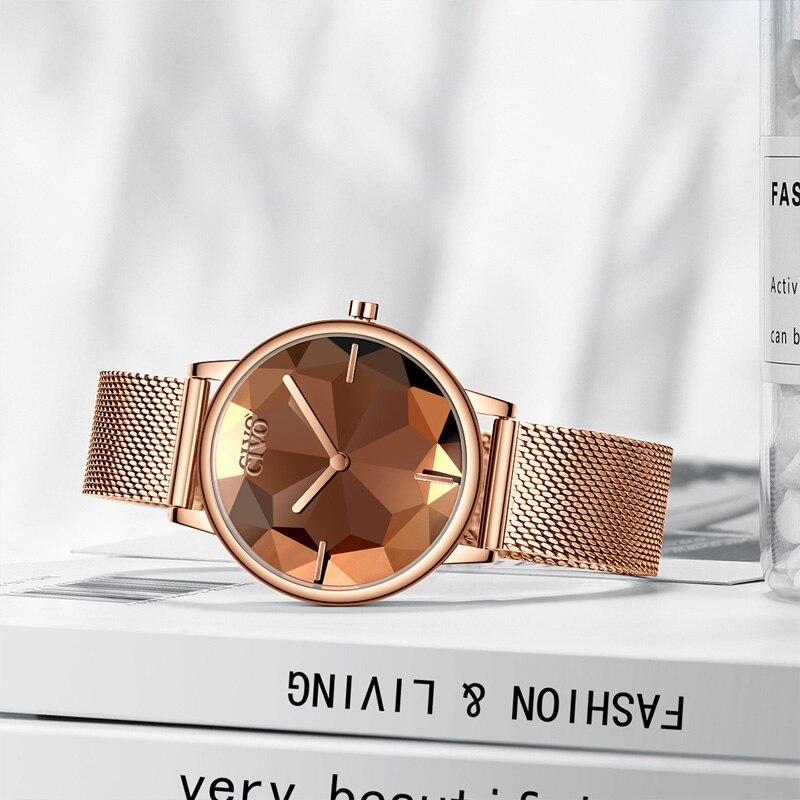 Image 4 - CIVO New Creative Watches Women Luxury Waterproof Rosegold Quartz Ladies Watches Mesh Band Wristwatches Girl Reloj Mujer 8109CWomens Watches   -
