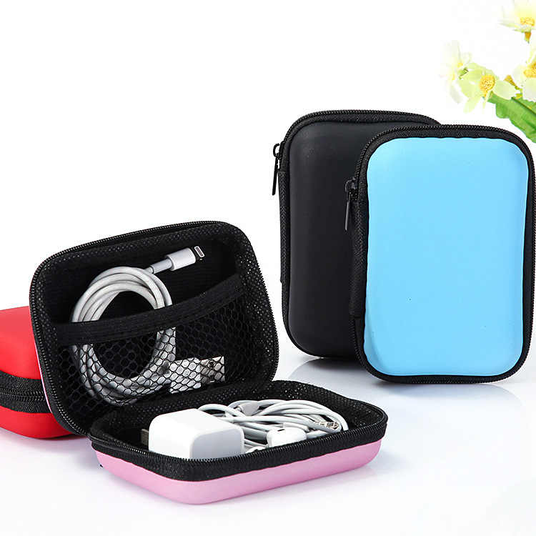 New Zipper Earphone Case Leather Earphone Storage Box Portable USB Cable Organizer Carrying Hard Bag For Coin Memory Card Boxes