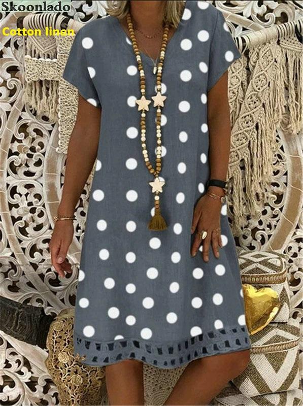 plus size 5xl DOT cotton linen women dresses casual loose lady linen dress summer women linen clothes original brand hot design