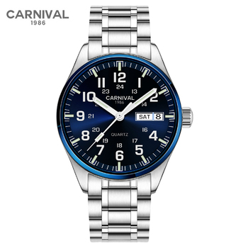 Relogio Masculino Carnival Mens Military Watch Top Brand Luxury Waterproof Fashion Luminous Quartz Wrist Watches Clock Men 2020 luxury carnival tritium luminous t25 men s watches quartz military men 200m diver waterproof wristwatch