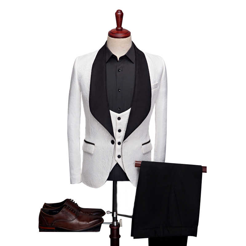 ANNIEBRITNEY biały 3 sztuka żakardowa w stylu Slim Fit oficjalny garnitur męski żakardowe Skinny Groom smoking ślubny bal męski garnitur Slim Fit Set