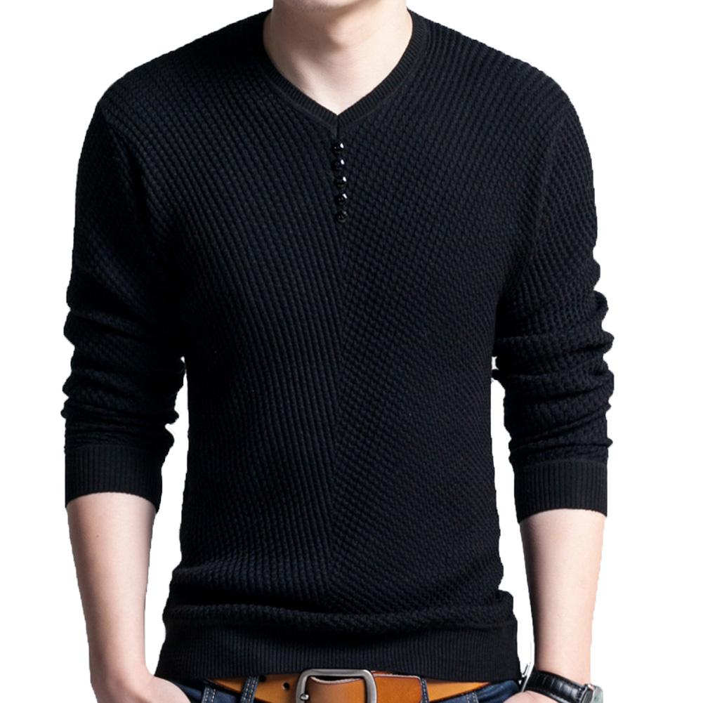 Chic Men Pullovers Solid Color V Neck Long Sleeve Pullover Slim- Fit Knitted Sweater Blouse 2
