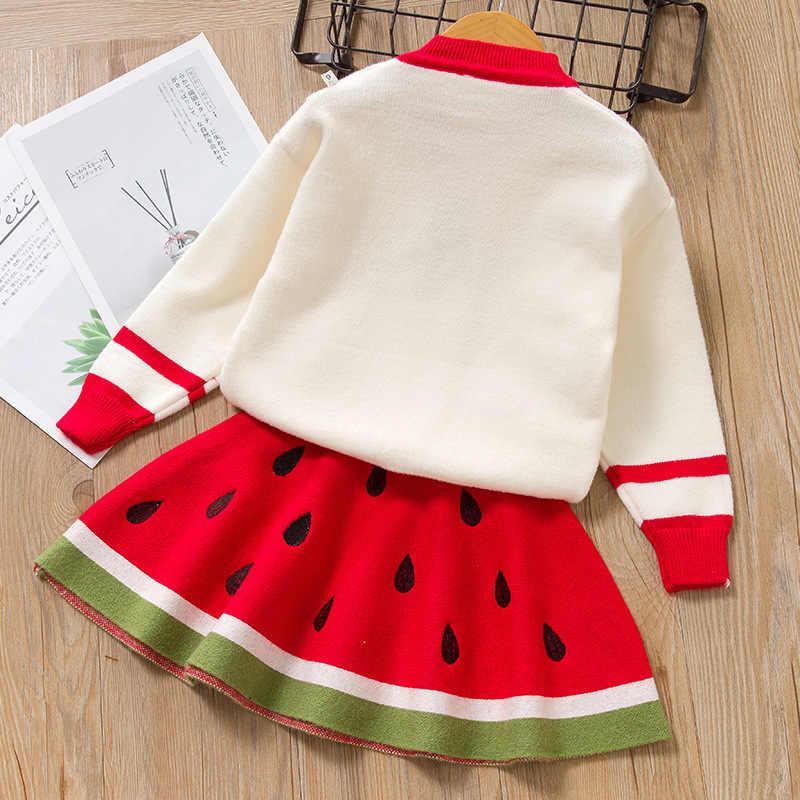 Kızlar parti elbise kış çocuk kız elbise uzun kollu örme çocuk giyim sevimli meyve desen karpuz elbise çocuklar 2 adet