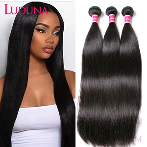 Luduna Straight Hair Bundles Brazilian Hair Bundles Remy Human Hair Extensions 1/3/4 Bundle Deals Weave Double Weft Weave(China)