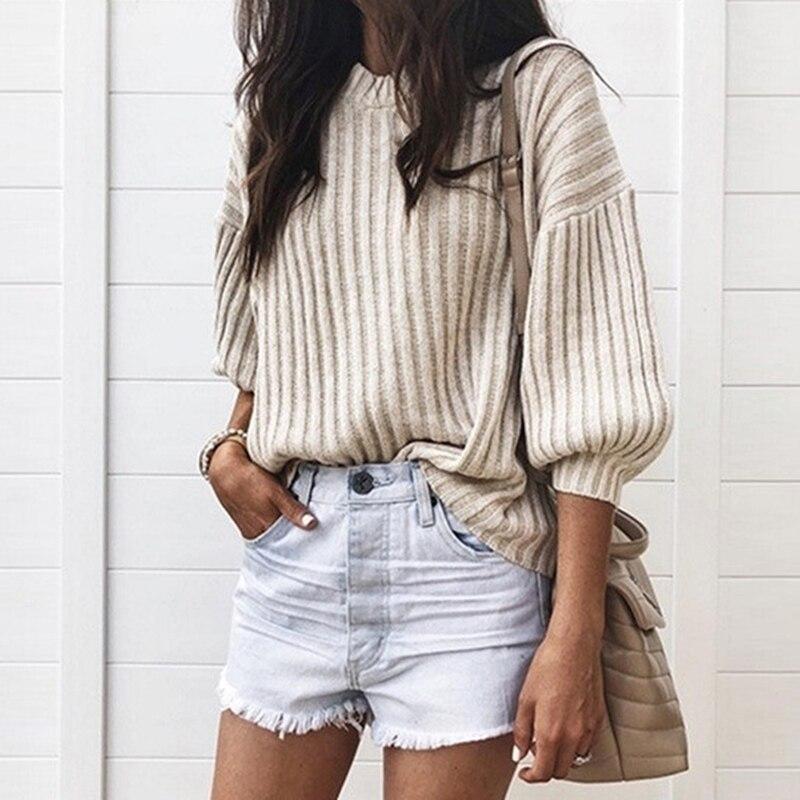 Повседневный вязаный свитер для женщин, уличная одежда с круглым вырезом, пуловеры 2020, свободный однотонный осенний свитер с рукавом три