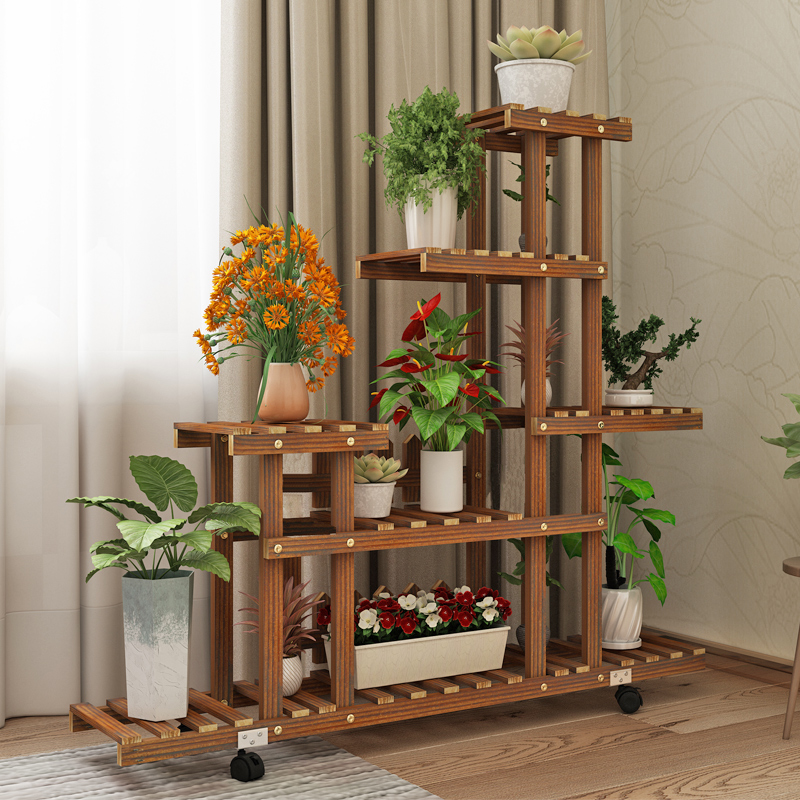 Balcony Solid Wood Hollow Multilayer Indoor Special Household Fleshy Other Ground Flowerpot Shelf Rack The Sitting Room