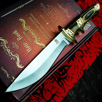 PEGASI  Japanese high-end brass color wooden handle sharp tactical straight knife outdoor camping adventure self-defense knife damascus steel outdoor tactical straight knife boutique collection knife high hardness self defense straight knife