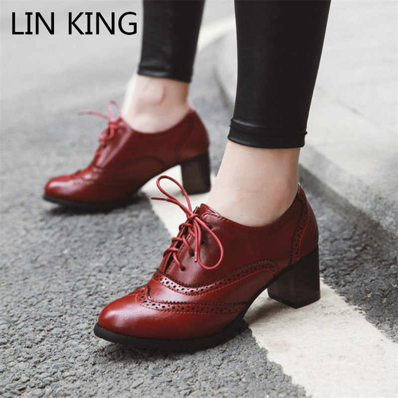 LIN KING Vintage Women Lace Up Pumps Square Heel Pointed Toe High Heel Shoes British Style Oxfords Shoes Low Top Student Shoes
