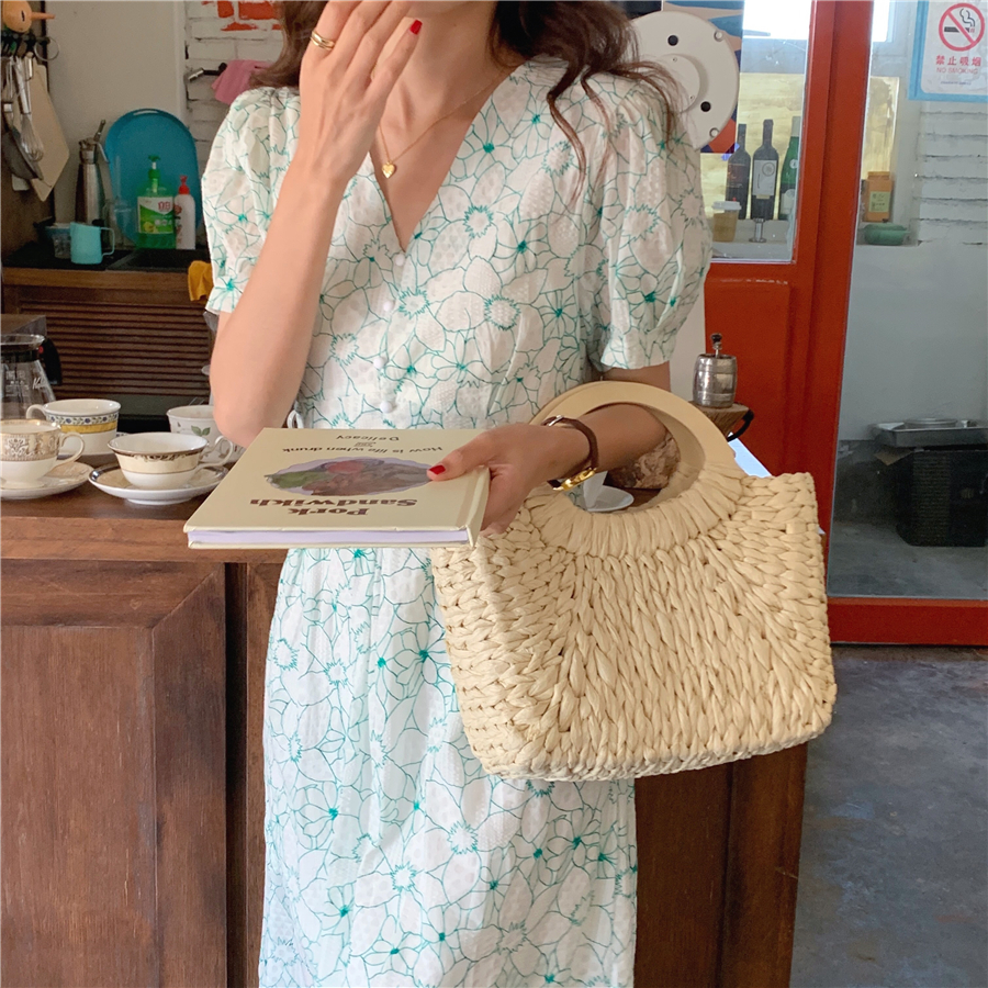 Ha5714d9d1de24e31bb3e207dc698aa00V - Summer V-Neck Puff Sleeves Floral Print Buttons A-Line Midi Dress