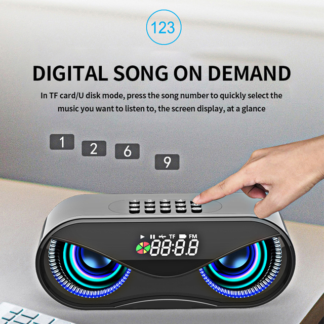 M6 Cool Owl Design Bluetooth Speaker LED Flash Wireless Loudspeaker FM Radio Alarm Clock TF Card