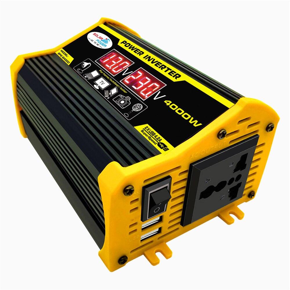 4000W Car Power Inverter Solar Converter Adapter Dual USB LED Display 12V To 220V/110V Voltage Transformer Modified Sine Wave