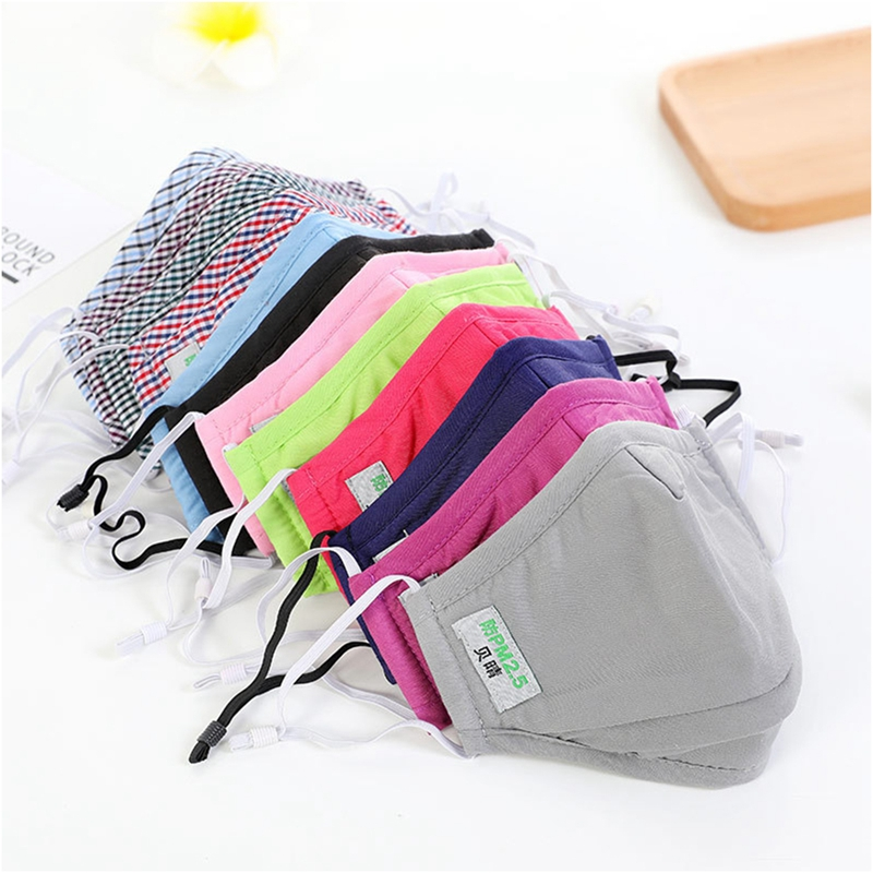 Cotton PM2.5 Mouth Mask Anti Dust Flu Activated Carbon Filter Windproof Mouth-Muffle Adjustable Elastic Buckle Face Masks