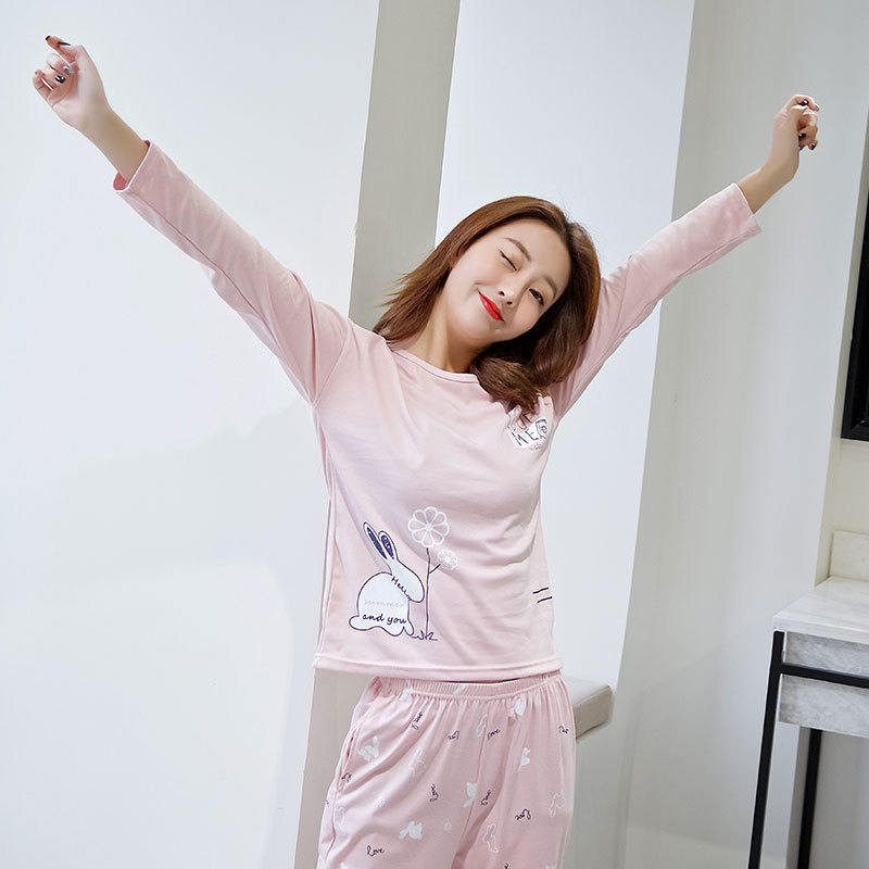 Shakespeare Fort Beauty New Style Korean-style Pajamas WOMEN'S Long Sleeve Thin Fashion GIRL'S Home Wear Two-Piece Set