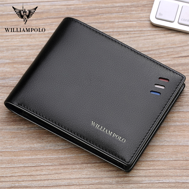 WILLIAMPOLO Men Wallet Men Leather 100% Cowhide Small Wallet Genuine Leather Mini Purse  Mature Man Bifold Luxury Wallet