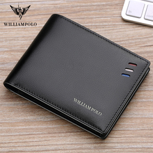 цена на WILLIAMPOLO Men wallet Men leather 100% Cowhide small Wallet Genuine Leather Mini Purse  Mature Man Bifold Luxury wallet