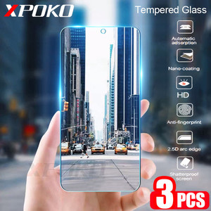 Image 1 - 3Pcs Tempered Glass For Samsung Galaxy A20 A30 A40 A70 A50 A20E Screen Protector 9H 2.5D Glass on Samsung J4 J6 Plus A7 A9 2018