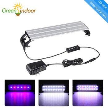 Luz de acuario LED 20-65CM lámpara para acuario Luminaria Aquario interior plantas acuáticas luces de pesca Led RGB con temporizador y adaptador