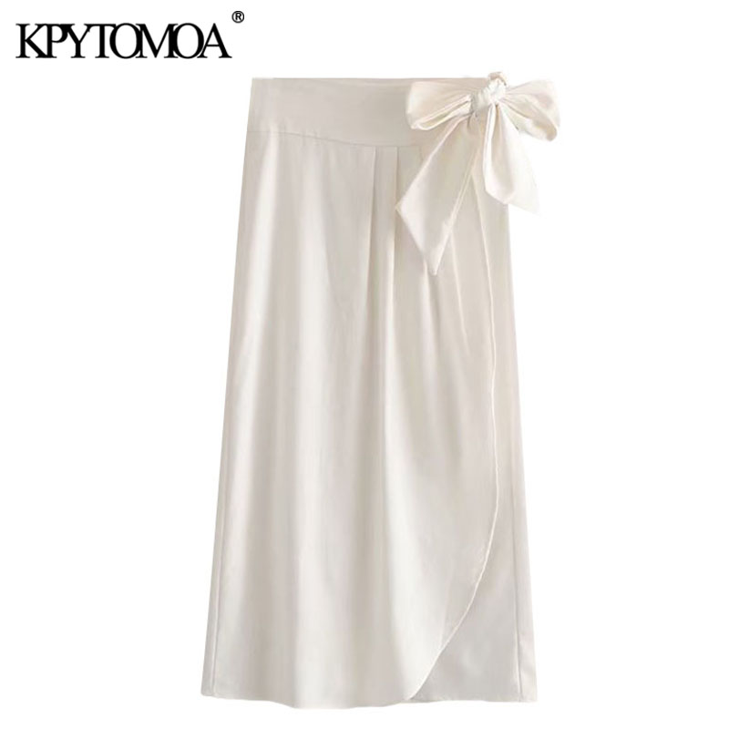 KPYTOMOA Women 2020 Chic Fashion Office Wear Pleated Wrap Skirt Vintage High Waist Side Bow Tied Female Skirts Faldas Mujer