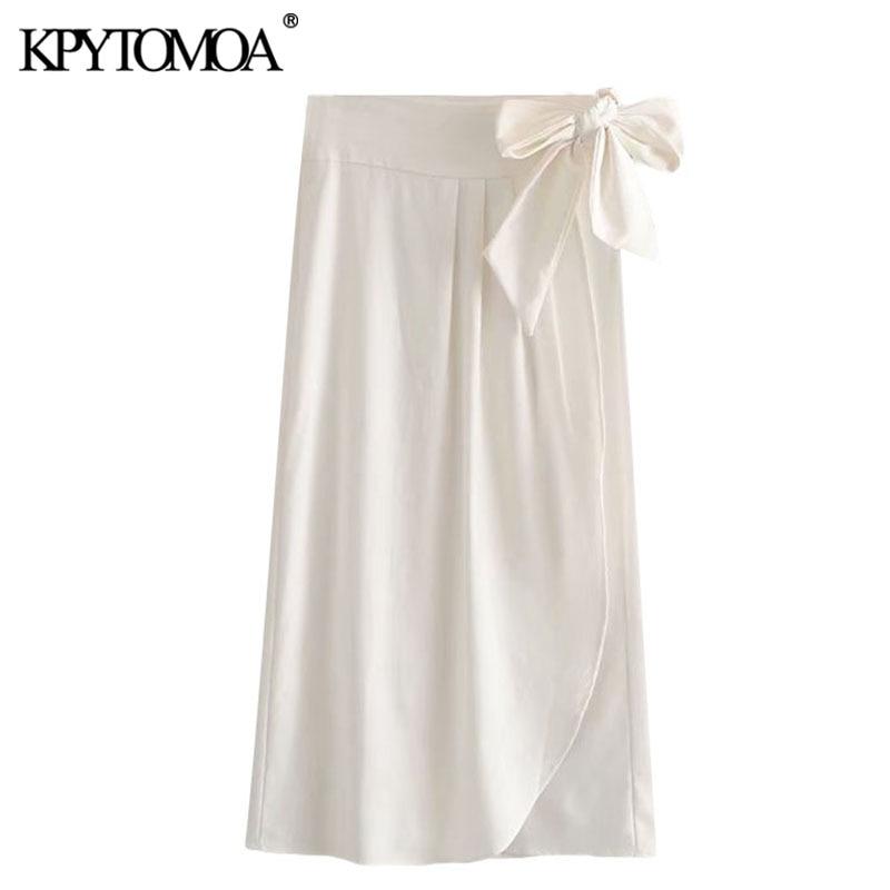 KPYTOMOA Women 2020 Chic Fashion Office Wear Pleated Wrap Skirt Vintage High Waist Side Bow Tied Female Skirts Faldas Mujer