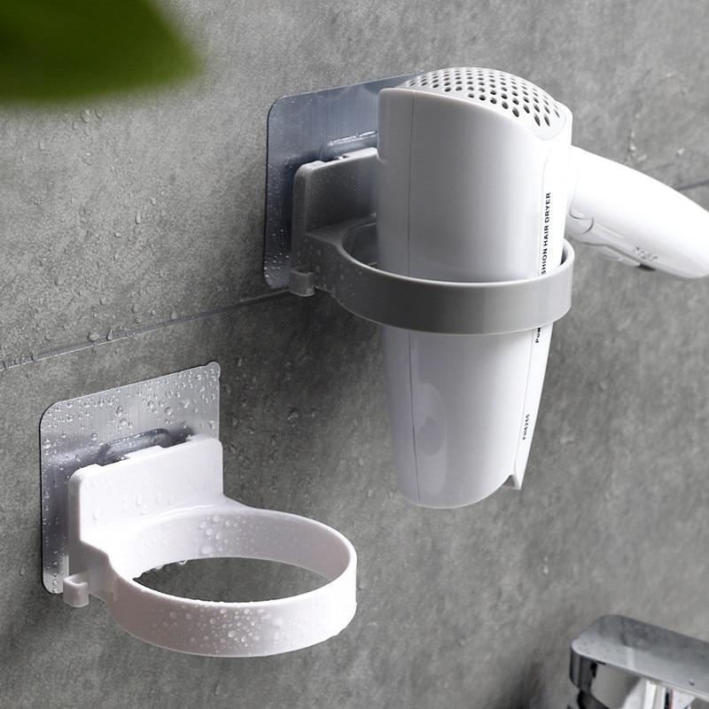 Seamless Wall-mounted Hair Dryer Holder Dia. 8.9cm ABS Bathroom Shelf Storage Hairdryer Holder Rack Bathroom Organizer