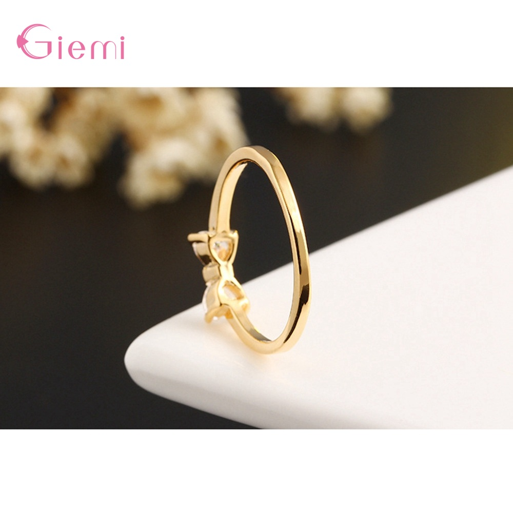 New Fashion Slim Finger Rings 925 Sterling Silver Bow Shape Cubic Zirconia Wedding/Engagement Party Rings Wholesale/Retail 5