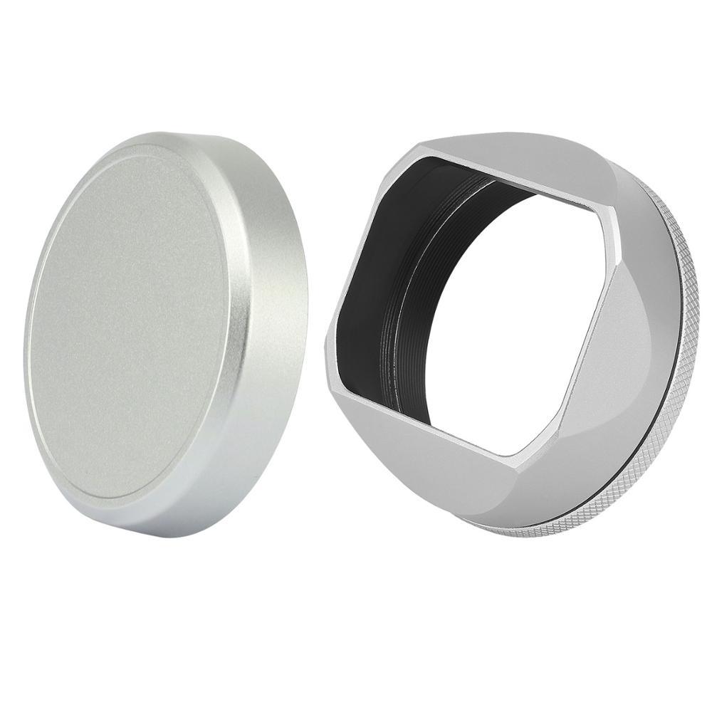 X100v Lens Hood de aluminio iphone 5 s caso madera samsung galaxy s 6 caso samsung galaxy s 5 caso 49mm anillo adaptador para Fujifilm Fuji X100V X100F X100S lente de la cámara capucha negro de plata