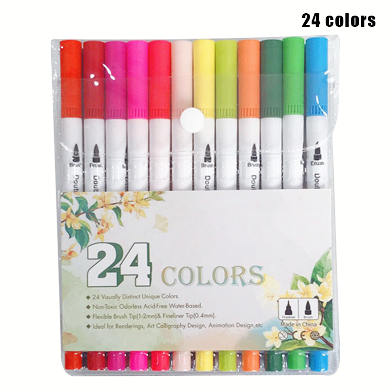 60 Colors Dual Tips Brush Pens Fine Tip Watercolor Set Art Markers Drawing Pen