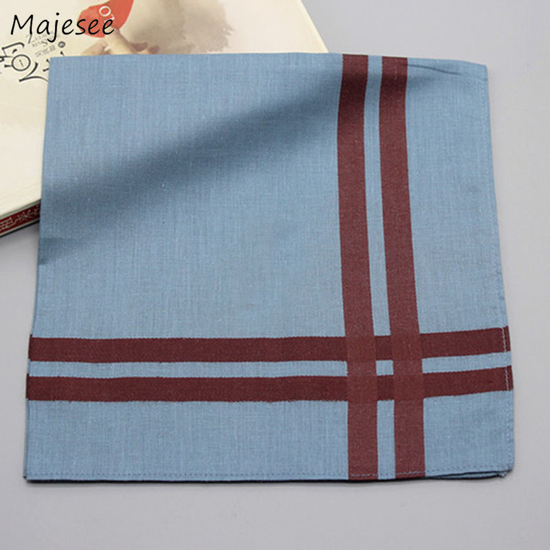 Handkerchiefs Women Elegant Striped Simple Daily Ladies High Quality Cotton Soft Fashion Females Leisure Towel Square Pocket New