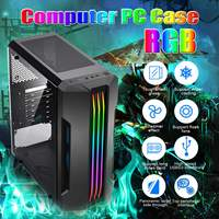Computer PC Case Desktop Case Cover USB3.0 Interface Transparent Side Window 5 Fan for ATX/ m atx /ITX Host Game PC Tower Case