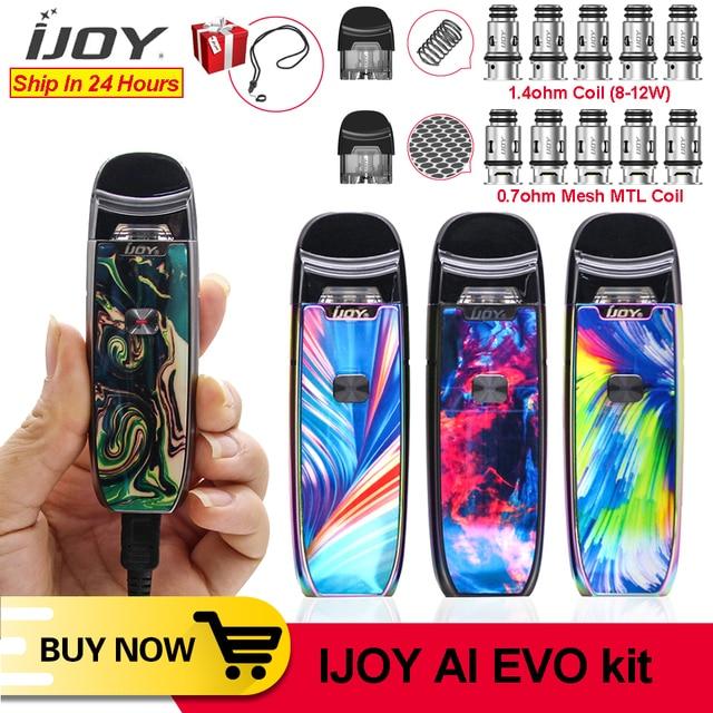 Original New IJOY AI EVO Resin Pod vape pen Starter 1100mAh Kit 0.7 Mesh/1.4ohm Coil Pod Vape Kit VS Lost Vape lyra minifit kit