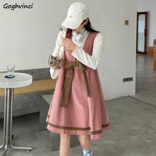 Robe sans manches en velours côtelé pour femmes, bretelles avec nœud en v, Style coréen tendance, Streetwear Chic, grande taille