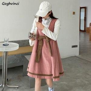 Kobiety sukienka bez rękawów jednolita, sztruksowa szelki łuk z dekoltem w kształcie litery v Kawaii dziewczyna Trendy koreański styl, Plus Size cały mecz Streetwear Chic
