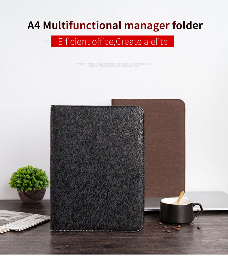A4 Document File Folder Padfolio Briefcase Notebook With Calculator PU Leather Office File Folder Manager