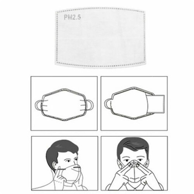 #H40 PCS PM2.5 Activated Carbon Face Mask Filter Breathing Protective Mouth Mask Mat bacteria proof Flu masks Pad 3