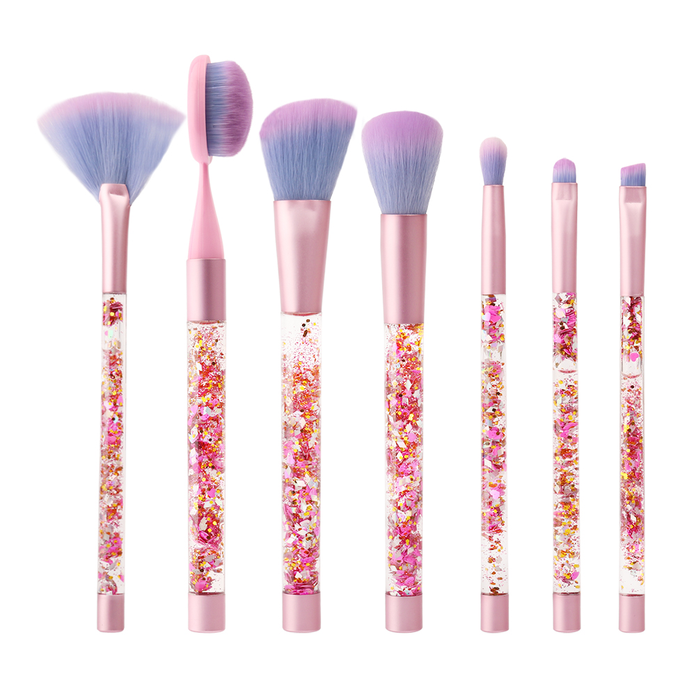 7pcs Aquarium Paillette Glitter Makeup Brushes Set Unicorn Crystal pink Brush Foundation Eyeshadow Brochas Pincel Maquiagem