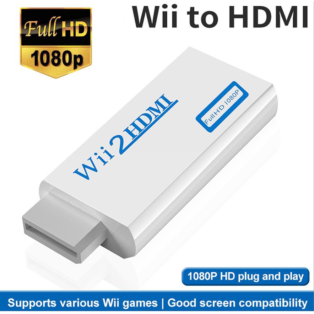 Completo hd 1080p saída de vídeo de áudio wii para hdmi-adaptador conversor compatível 3.5mm jack aux para hdtv monitor de computador wii2hdmi