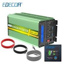 EDECOA power inverter DC 12v AC 110v 120v 1000W 60Hz pure sine wave inverter US plug with remote controller LCD display USB port