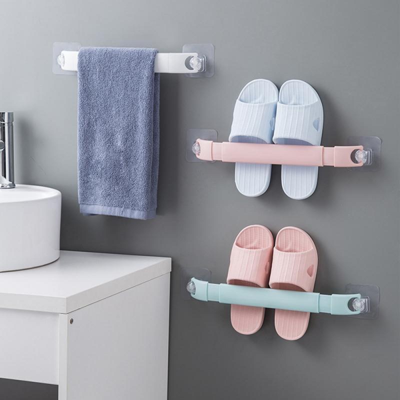 Self-adhesive Towel Holder Free Punching Wall Mounted Bathroom Towel Bar Shelf Shoes Rack Toilet Roll Paper Hanging Hanger