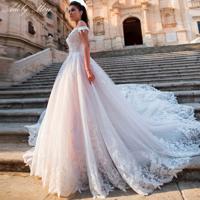 Adoly Mey Glamorous Appliques Lace Court Train A Line Wedding Dresses 2020 Luxury Boat Neck Beaded Princess Bride Gown Plus Size