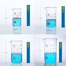 1 conjunto (100ml,250,500,1000ml) borosilicato graduado copo de vidro em forma alta vidro medida copo equipamento de laboratório