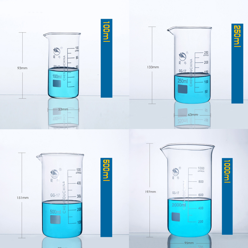 1set (100ml,250,500,1000ml) Borosilicate Graduated Glass Beaker In Tall Form Glass Measure Cup Beaker Laboratory Equipment