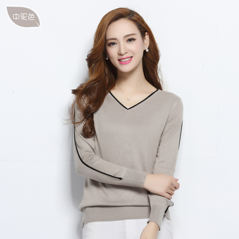 Spring And Autumn Wool Mixed Sweaters Women Jump Neck Leather Sleeves Long Sweaters