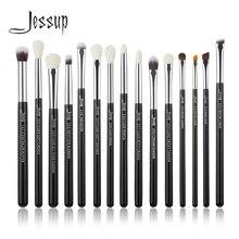 Jessup Pinceaux de maquillage professionnels Eyeliner Ombre à paupières maquillage yeux pinceau Outils cosmétiques manche en bois poils naturels synthétiques 15Pcs Noir/argent