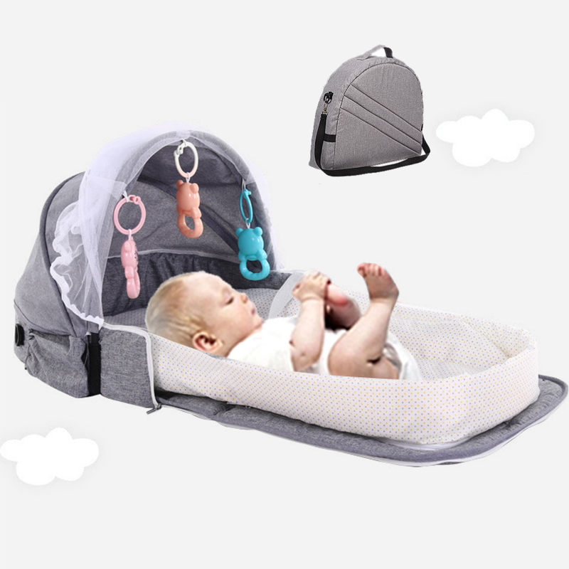 Portable Baby Bed With Toys For Kids Foldable Baby Bed Travel Sun Protection Mosquito Net Breathable Infant Car Sleeping Basket